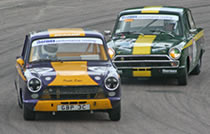 Lotus Cortinas racing at Lydden Hill